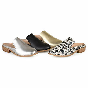 e6716f5e13e Brinley Co Womens Slip on Stacked Heel Faux Leather Mules New