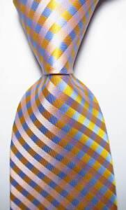 New-Classic-Checks-Yellow-Blue-Pink-JACQUARD-WOVEN-100-Silk-Men-039-s-Tie-Necktie