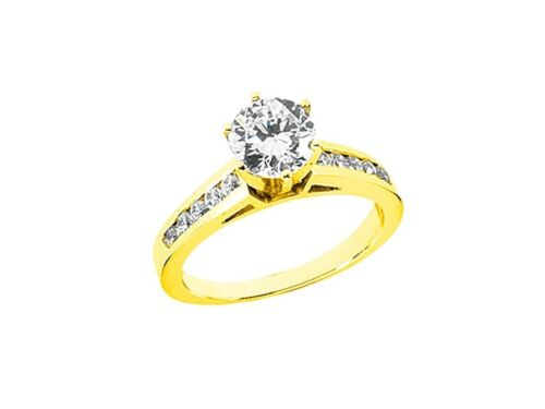 Genuine 0.70Ct Round Cut Diamond Cathedral Engagement Ring Solid 18k Gold