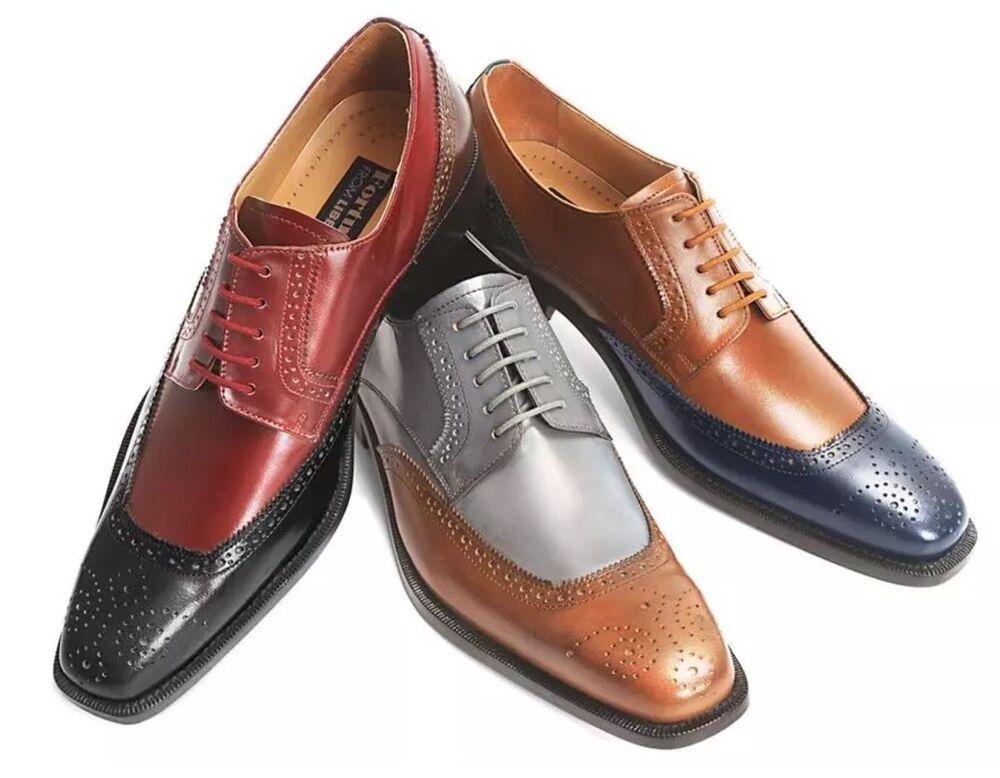 Neuf Pour Homme Liberty Cuir Bicolore Chaussures Habillées Foncé / Gris, Noir /