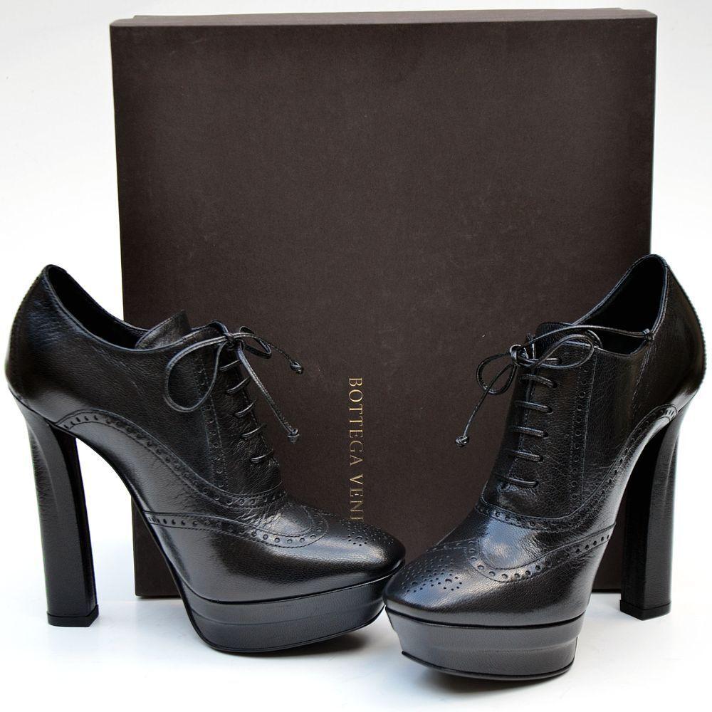 BOTTEGA VENETA New sz 40 - 10 Auth Designer Womens Lace Up shoes Heels black