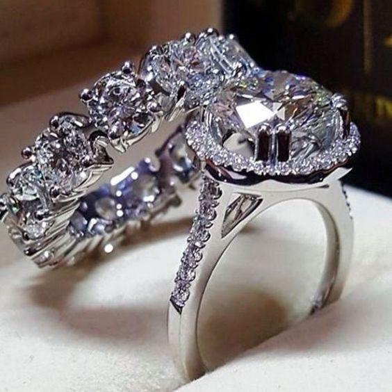 Engagement Wedding Bridal Rings Set 14k White gold 4.50ct Round Cut Diamond