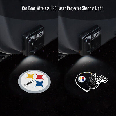 1Pair Steelers LOGO WIRELESS LED CAR DOOR WELCOME LOGO PROJECTORS LIGHTS