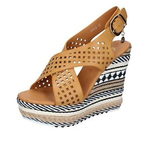 scarpe-donna-ENRICO-COVERI-37-EU-sandali-marrone-pelle-BP392-37