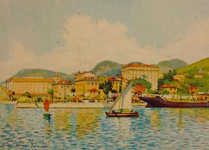 Nice Le Port Lithographie D'après Une Aquarelle De Tony Minars French Riviera Produits Vente Chaude