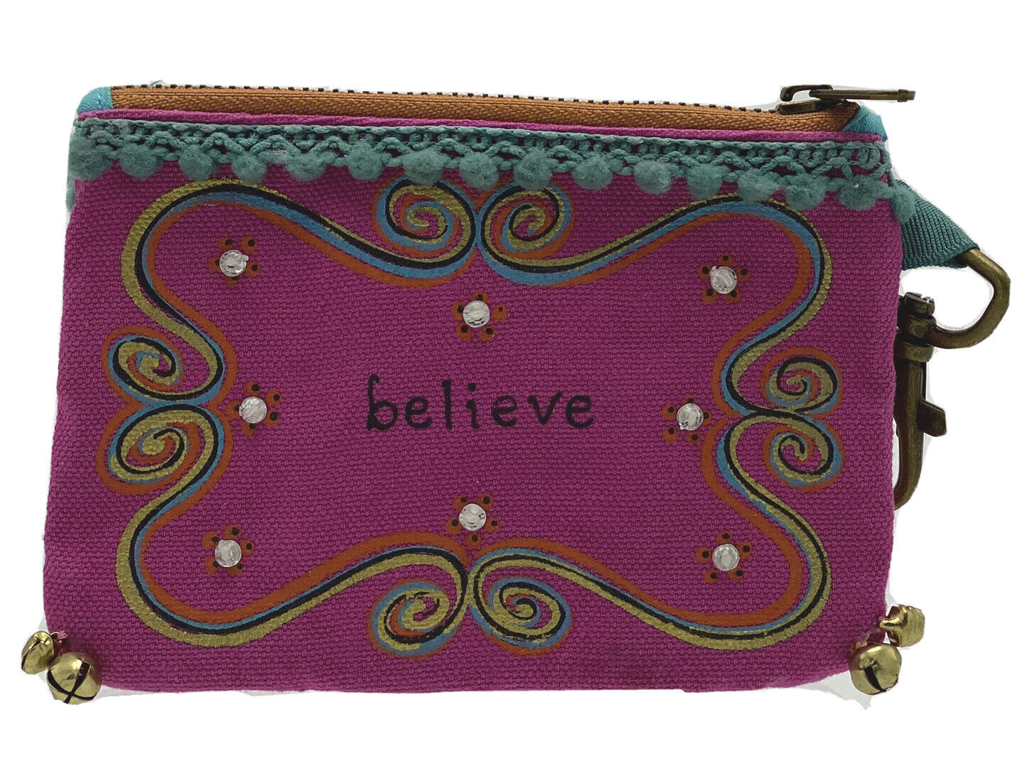 Natural Life Believe ID Credit Card BoHo Wallet Coin Purse Zipper Pouch Hook On