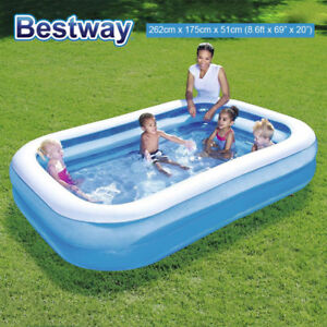Bestway Inflatable Rectangular Family Kids Paddling Swimming Garden