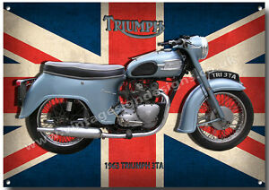 TRIUMPH 3TA VINTAGE MOTORCYCLE METAL SIGN.BRITISH VINTAGE MOTORCYCLE