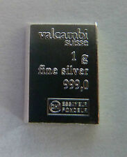 20 x 1g (20 grams) Valcambi Suisse .999 Fine Silver Bullion Bar. Solid Silver.