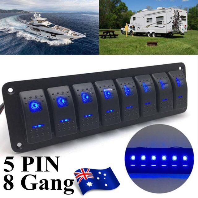 8 Gang Waterproof Marine Switch Panel, Rocker Switch ARB - Boat/Caravan/4WD 8i