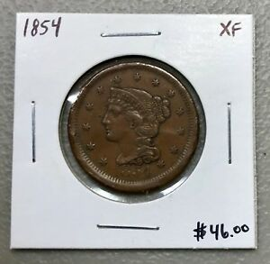 1854 U.S. BRAIDED HAIR LARGE CENT ~ XF CONDITION! $2.95 MAX SHIPPING! C815