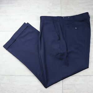 Mens Pants dress pleated Navy Blue  33 34  unhem 38 40 42 44 48 x 32 USA New