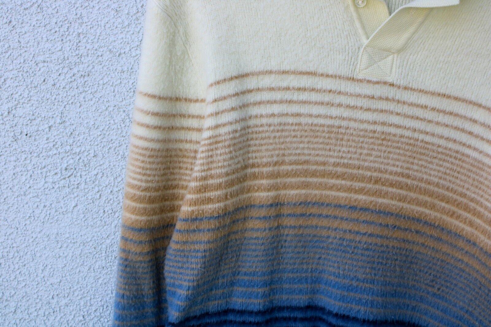 Vintage 80's Fuzzy Men's Polo Collar Sweater Shir… - image 2