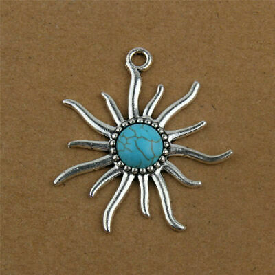 6pcs Tibetan Silver Alloy Teardrop Pendants Synthetic Turquoise Charms 35x25mm