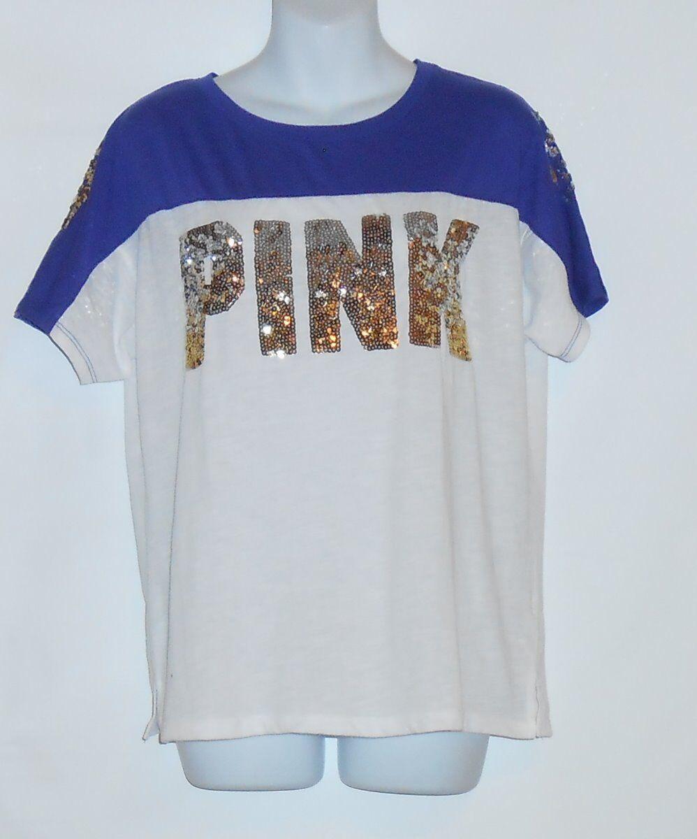 Victoria's Secret Rosa Short Sleeve Bling Sequin Farbeblock Varsity T-Shirt S