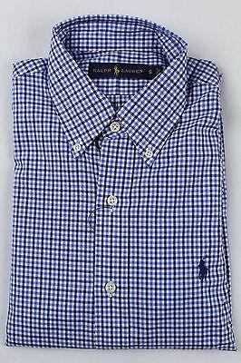 Polo Ralph Lauren Blue Checkered Button Down Classic Fit Dress Shirt NWT