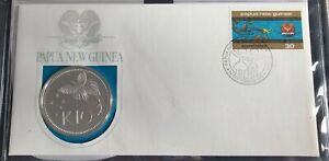 ~Simply Coins~ 1975 PAPUA NEW GUINEA SILVER PROOF 10 KINA COIN COVER FDC