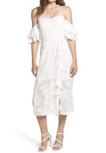 WAYF-Vintage-Cold-Shoulder-Romance-Ruffled-Ivory-Dress-100-Polyester-Sz-XXL-14
