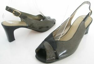 K-BY-CLARKS-WIDER-STYLE-SIZE-5-WOMENS-SOFT-BLACK-BROWN-PEEPTOES-SLINGBACKS-SHOES