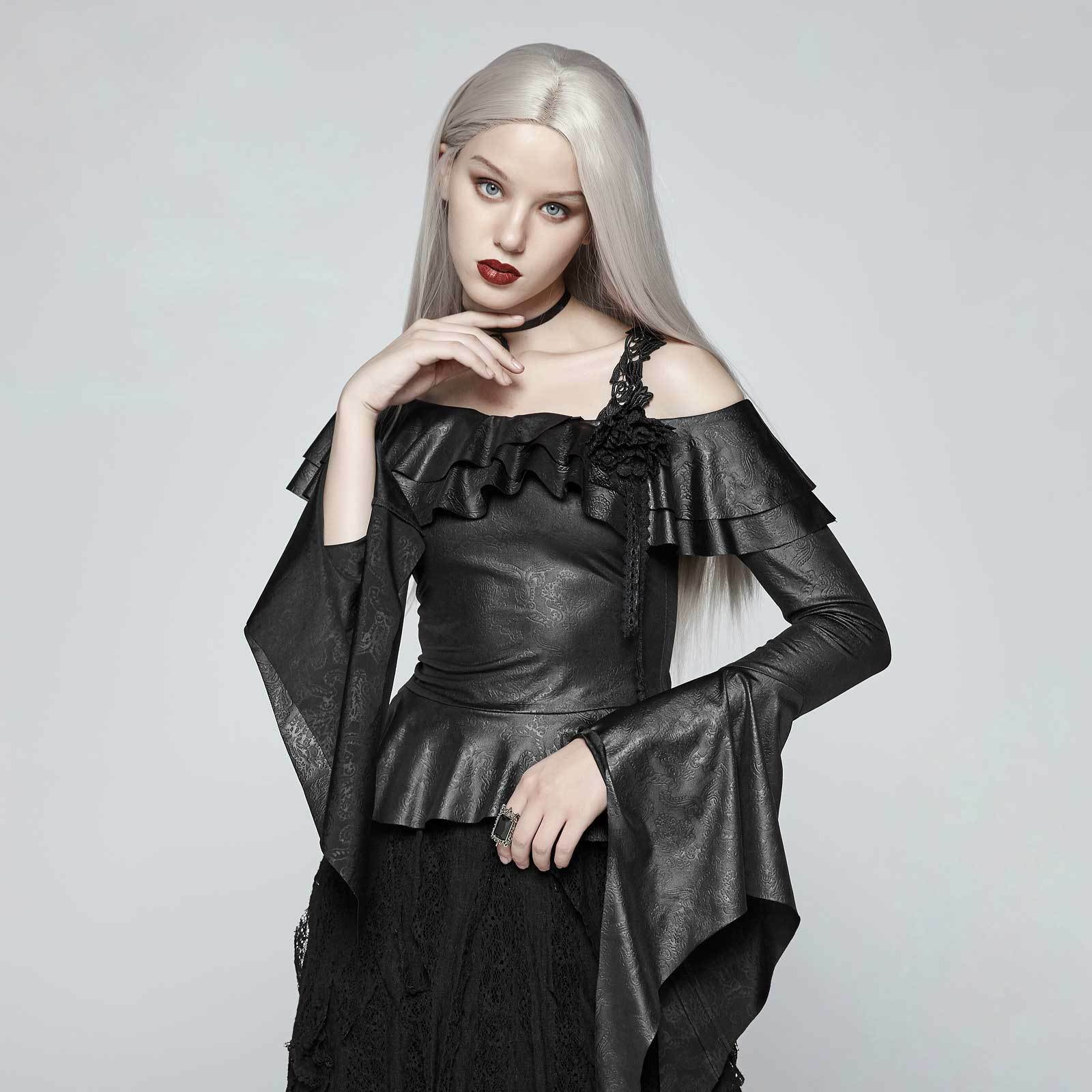 PUNK RAVE Magic Carmen Top Gothic Kunst-Leder-Blause Rüschen Ruffles Blouse Shirt