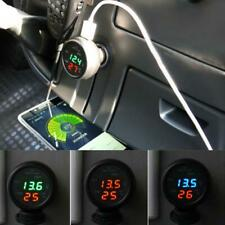Car 3 In1 Usb Voltmeter On Board Multi Function Thermometer Led Lcd Display Auto