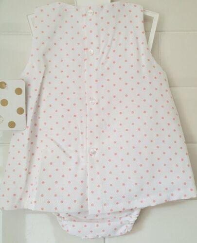 Beautiful Baby Girls Spanish Style Pink Spot Slotted Ribbon Dress /& Bloomer Set
