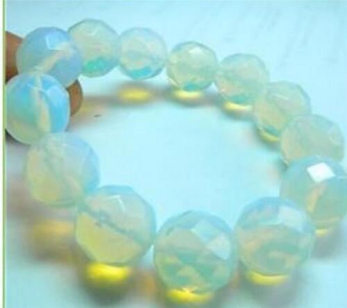 """Belle 14 mm Faceted Sri Lanka White Moonstone Round Gems Bracelet Bangle 7.5/"""""""