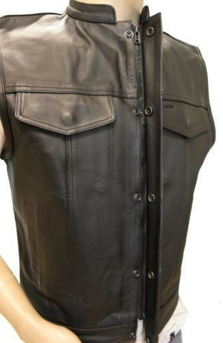 Men/'s Concealed Carry Black Leather Club /& Biker Vest with Zipper and Snaps