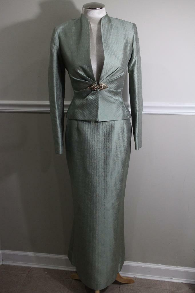 KAY UNGER Women's Jade Green Jewel Blazer Blazer Blazer and Skirt Suit Size 2 (su100 342f51
