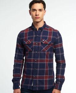 Superdry-Hombre-Camisa-de-lenador-Refined-Navy-Tundra-Grindle