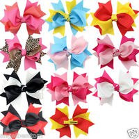 5.5inch Kids Girls Baby Hair Bows Ribbon Bowknot Headwear With Clip
