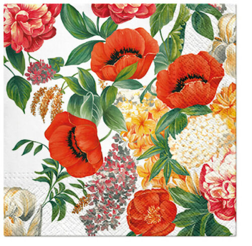 RED POPPY MEADOW 20 Lunch Paper Napkins Decoration DECOUPAGE Floral Meadow