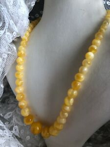 1930s-Peking-Glass-Necklace-Yellow-Beaded-Graded-Vintage-Retro-Jewelry-Jewellery