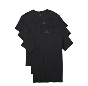Hanes-Tag-Less-Crew-Neck-T-Shirts-3-Pack-Mens-100-Cotton-Black-White-Gray