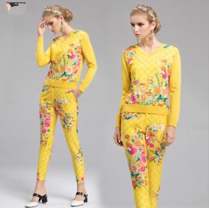 Luxury Women Sweater Tops+Pants Knitting Suits 2018 Winter Yellow Designer 2 PCS