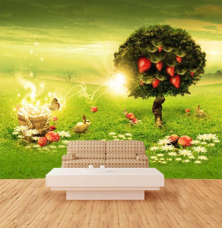 3D Strawberry Tree Wallpaper Murals Wall Print Wallpaper Mural AJ WALL AU Lemon