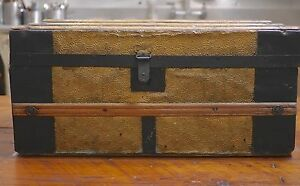 Antique Vtg Victorian Gold Tone Metal Tin Wood Small Coffee Table Steamer Trunk Ebay
