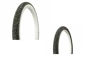 2-TUBES-TIRES-26-034-X-2-125-SLICK-ALL-BLACK-or-WHITE-WALL-CRUSIER-LOWRIDER-MTB