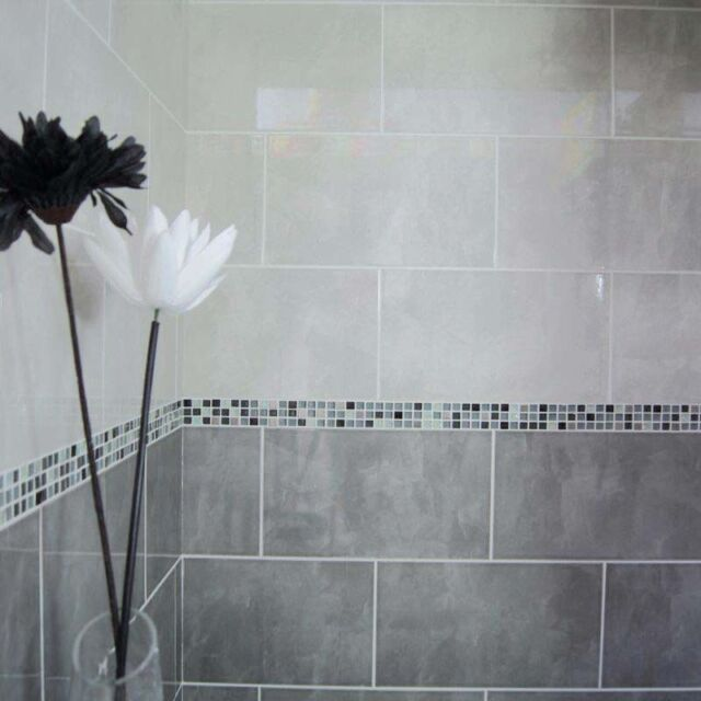 40x25cm Light Grey Gloss Ceramic Wall Tiles (1 Sqm 10tiles)