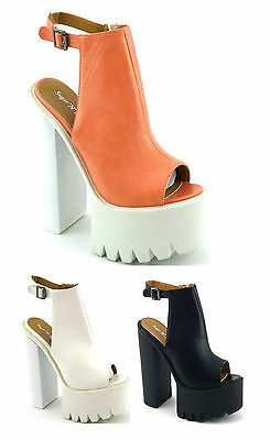 WOMENS LADIES HIGH HEEL CHUNKY PLATFORM CLEAT SOLE PEEP TOE SHOES SANDALS SIZE