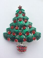 Red Crystal And Green Enamel Christmas Tree Brooch Pin