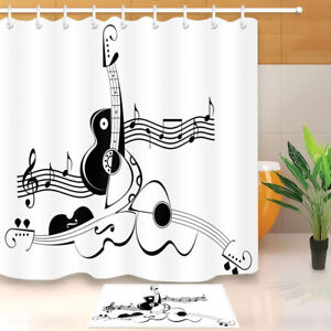 Details About Waterproof Black White Musical Notes Violin Shower Curtain Bathroom Decor Mat