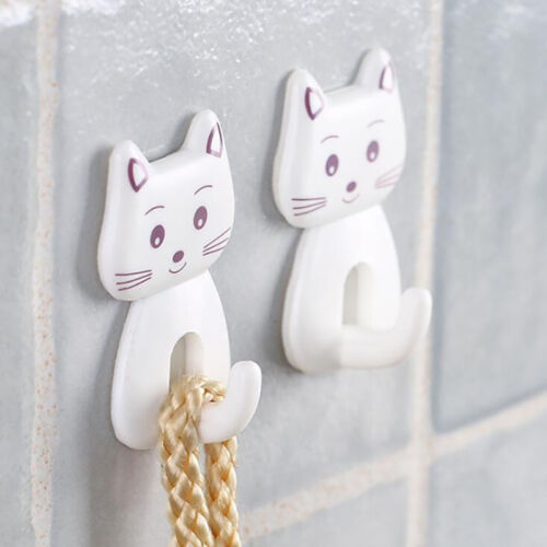 Room Organizer Wall Hanging 3PCS Key Hook Cartoon Cat For Bathroom Towel Hook BL