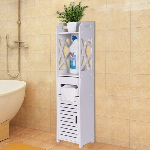 White Floor Cabinet//Cupboard with 2 Doors Bathroom Kitchen Storage 4 Style