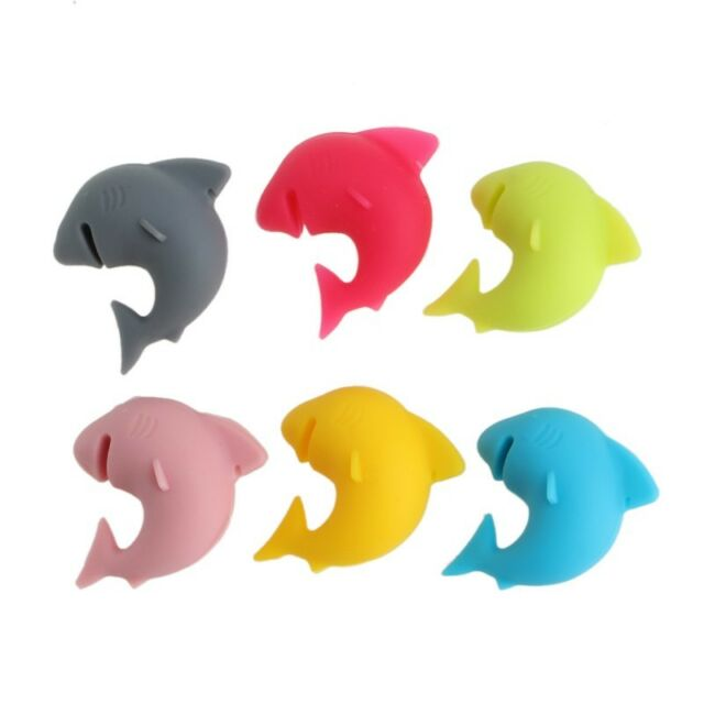 6Pcs Party Shark Lip Dedicated Smile Tag Silicone  Suction Cup Wine Glass Rubber