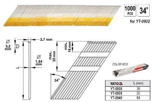 Nägel Streifennägel 34° für Druckluftnagler 38 x 1,9 mm 1000 St