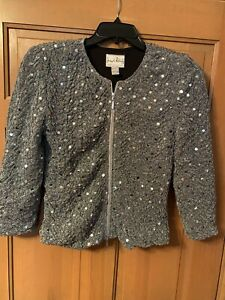 Joseph-Ribkoff-Women-s-Jacket-Blazer-Sz-8-Silver-Sequins-For-Evening-Weddings