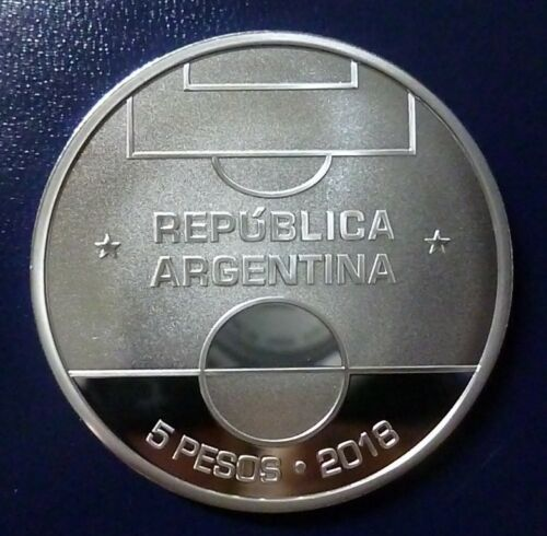 ARGENTINA  SILVER COIN 5 Pesos Proof 2018 FIFA Worldcup Russia 2018