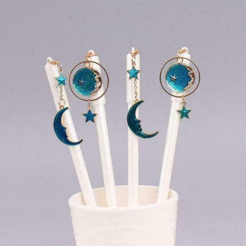 Blue Star Moon Anhänger Gelstift Kawaii Stationery Kugelschreiber mit schwa I6M7