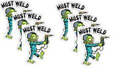 Helmet Stickers 3pc  Must Weld Zombie Welder Hard Hat